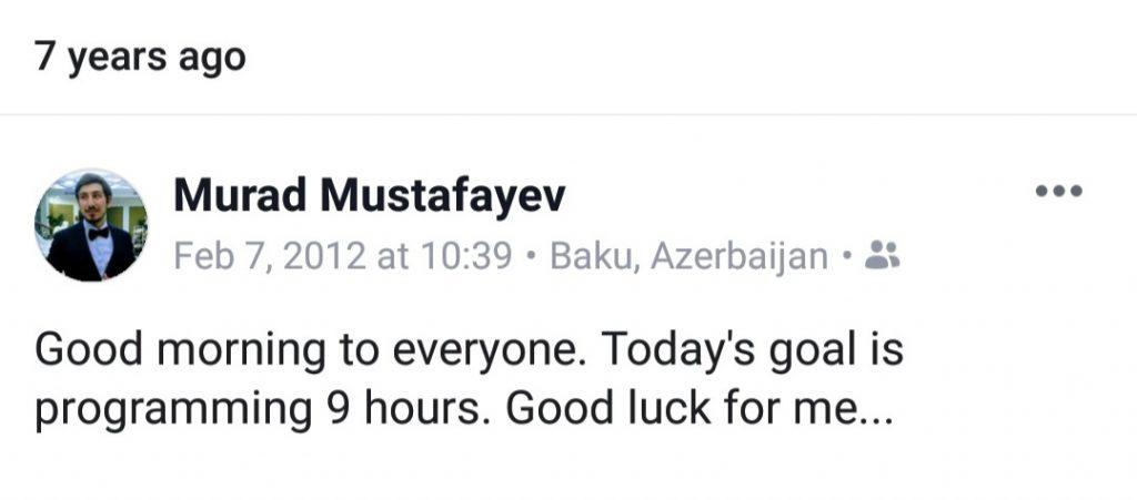 Murad Mustafayev 2012 facebook post